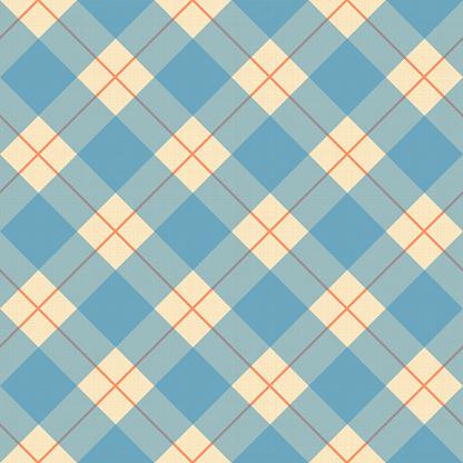 Plaid blue, cream and orange pattern on a textile texture