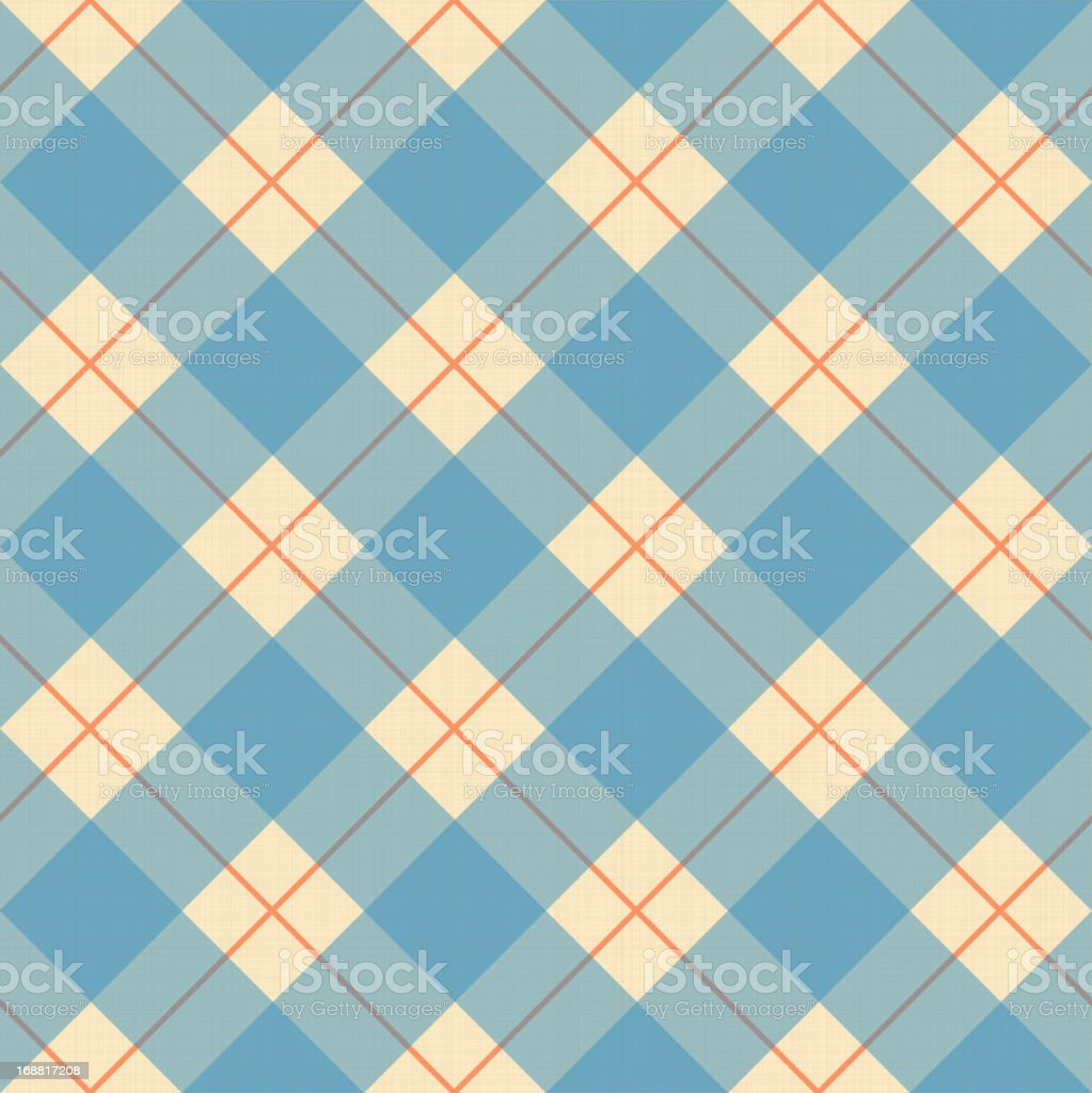 Plaid blue, cream and orange pattern on a textile texture vector art illustration