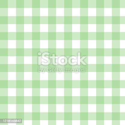 Plaid check pattern in green and white. Seamless fabric texture print.