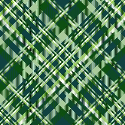 Plaid check pattern in teal, green and white.