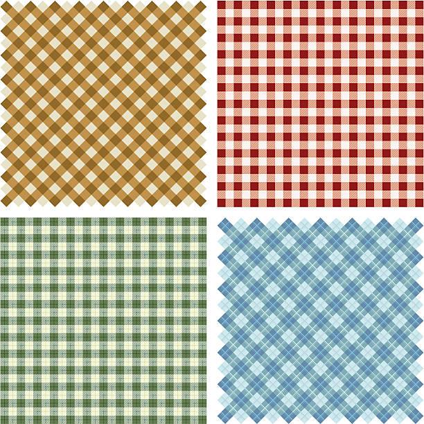 Plaid Fabric background set Plaid Fabric set fabric swatch stock illustrations
