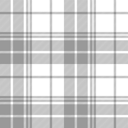 Plaid pattern background. Seamless grey and white summer tartan check plaid graphic for flannel shirt, blanket, throw, upholstery, duvet cover, bed sheet, or other modern fabric design.