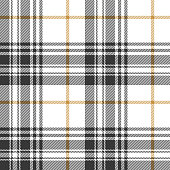 Plaid pattern background. Seamless summer check plaid graphic in dark grey, gold, and white for flannel shirt, blanket, throw, upholstery, duvet cover, or other modern fabric design.