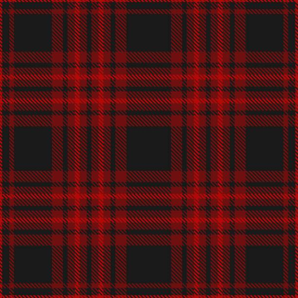 plaid pattern in black and burgundy - cotton stock illustrations