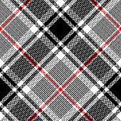 Plaid pattern in black, white, red. Seamless herringbone diagonal glen check plaid graphic for skirt, blanket, throw, or other modern autumn winter fabric design.