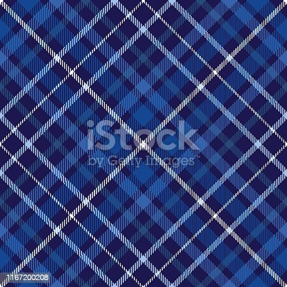 istock Plaid pattern in blue, navy and white. 1167200208