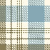 Plaid pattern in faded blue, khaki green and cream