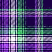 Plaid pattern in purple, green, navy blue, white. Seamless colorful ombre tartan check plaid graphic vector for flannel shirt, blanket, duvet cover, throw, other modern fashion textile print.