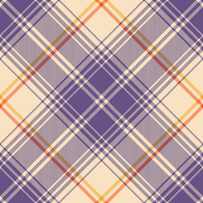 Plaid pattern in purple, orange, yellow, beige. Large seamless vector tartan check graphic for flannel shirt, skirt, blanket, throw, duvet cover, other modern autumn Halloween fashion textile print.