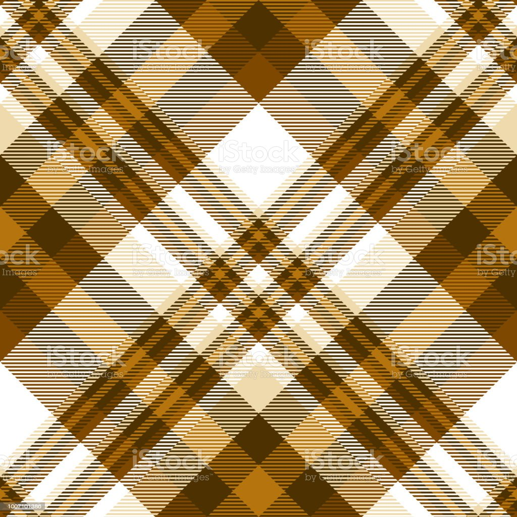 Plaid pattern in shades of brown, beige and white vector art illustration