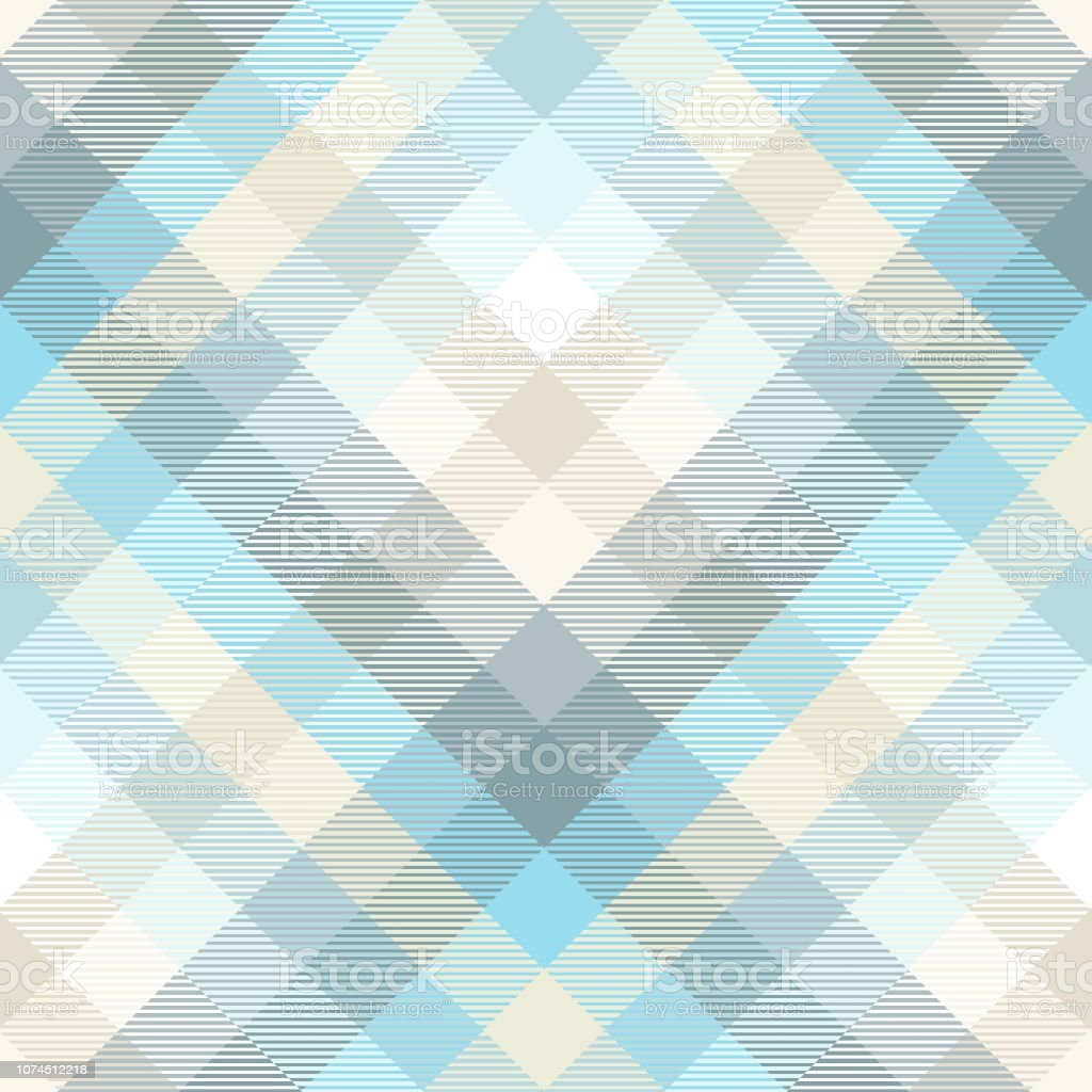Plaid pattern in shades of pastel blue, teal and tan vector art illustration