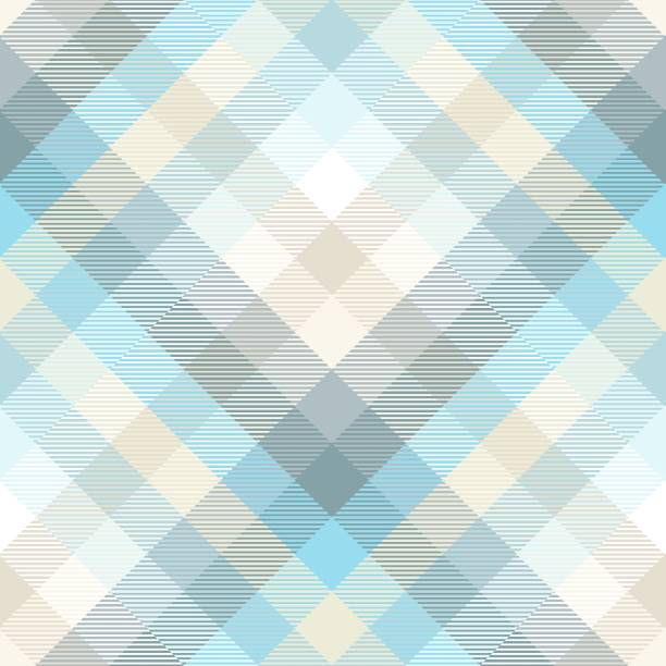 plaid pattern in shades of pastel blue, teal and tan - preppy fashion stock illustrations, clip art, cartoons, & icons