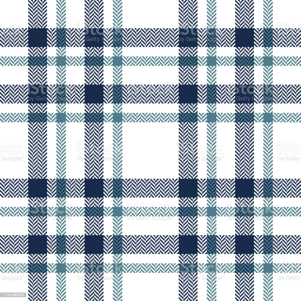 Plaid pattern seamless vector background. Herringbone pixel check...