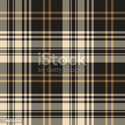 Plaid pattern seamless vector background in nearly black and gold. Tartan check plaid for flannel shirt, blanket, duvet cover, scarf, or other autumn or winter modern fashion textile design.