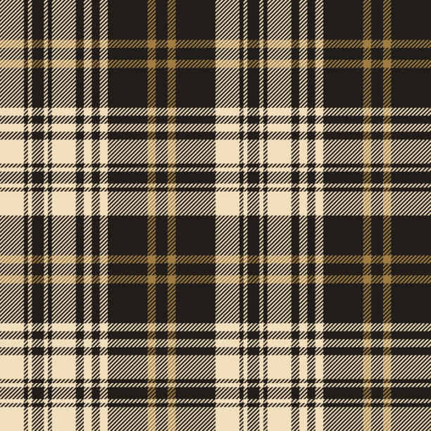 Plaid pattern seamless vector background in nearly black and gold. Tartan check plaid for flannel shirt, blanket, duvet cover, scarf, or other autumn or winter modern fashion textile design. Plaid pattern seamless vector background in nearly black and gold. Tartan check plaid for flannel shirt, blanket, duvet cover, scarf, or other autumn or winter modern fashion textile design. tartan pattern stock illustrations