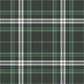 Plaid pattern seamless vector graphic in green and white. Tartan check plaid for modern textile design. Hounds tooth stripe texture.