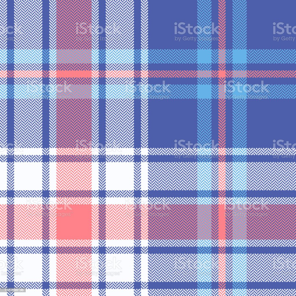 Plaid pattern seamless vector graphic. Summer bright tartan check...