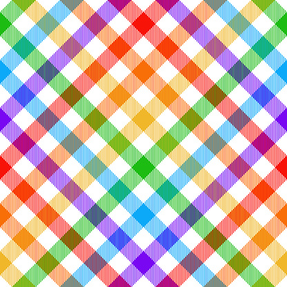 Plaid pattern vector. Colorful rainbow vichy buffalo check tartan background for picnic blanket, tablecloth, shirt, skirt, dress, other modern spring summer autumn winter gingham fashion fabric print.