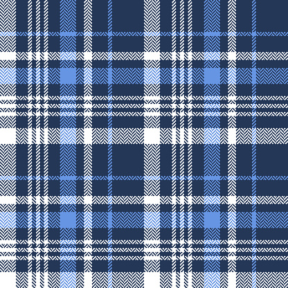 Plaid pattern vector in blue and white. Seamless tartan check graphic for flannel shirt, skirt, scarf, jacket, blanket, throw, other modern spring autumn winter everyday fashion textile design.