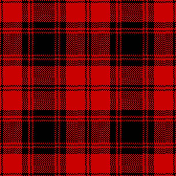 plaid pattern vector in red and black for textile design. seamless tartan plaid. pixel texture. - mens fashion stock illustrations, clip art, cartoons, & icons