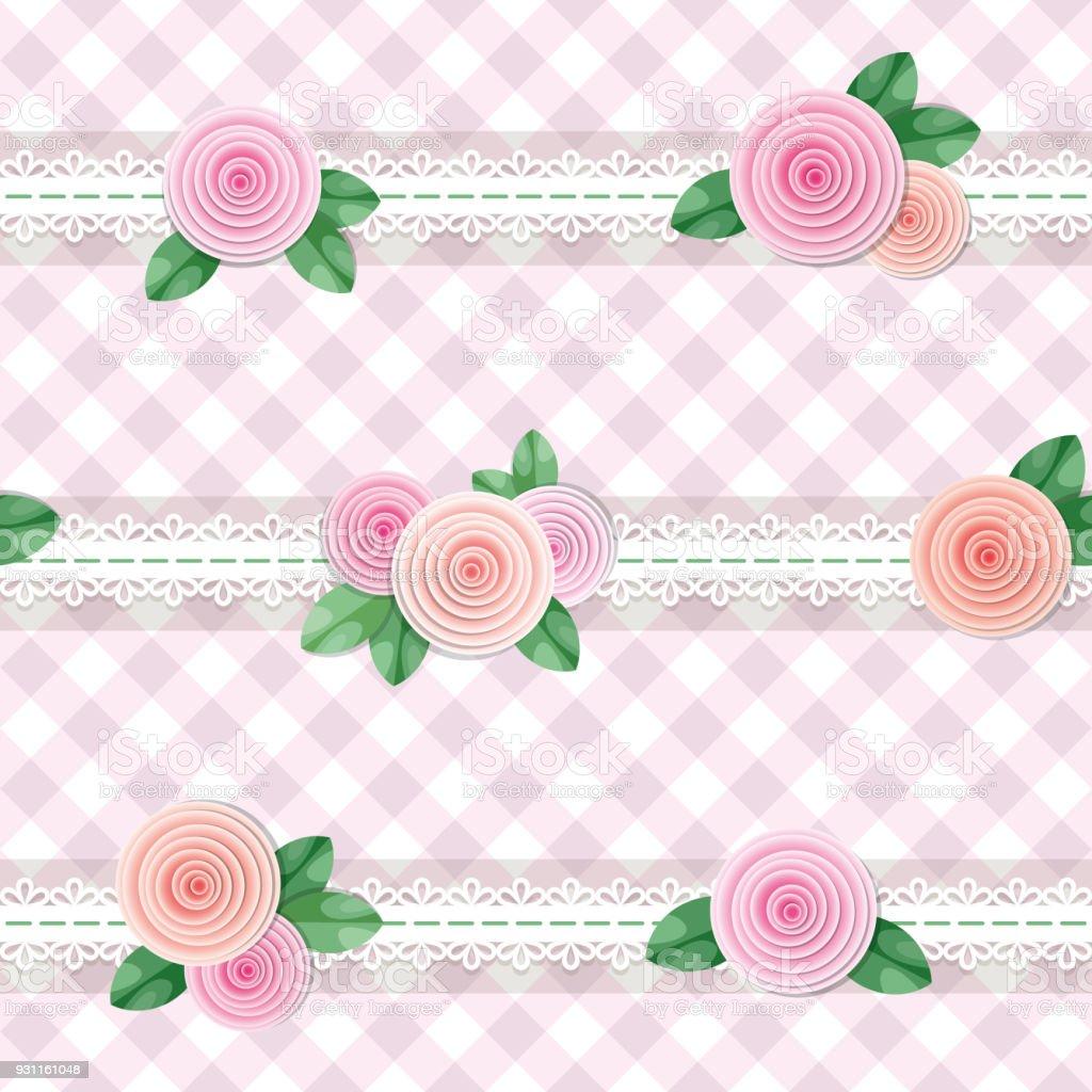 Ilustración de Textil Cuadros Fondo Decorado Con Encaje Y Rosas ...