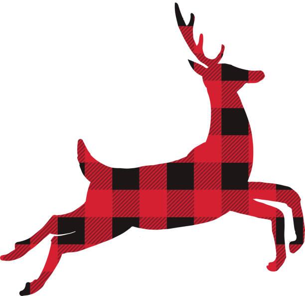 plaid textured stylized christmas deer - plaid shirt stock illustrations