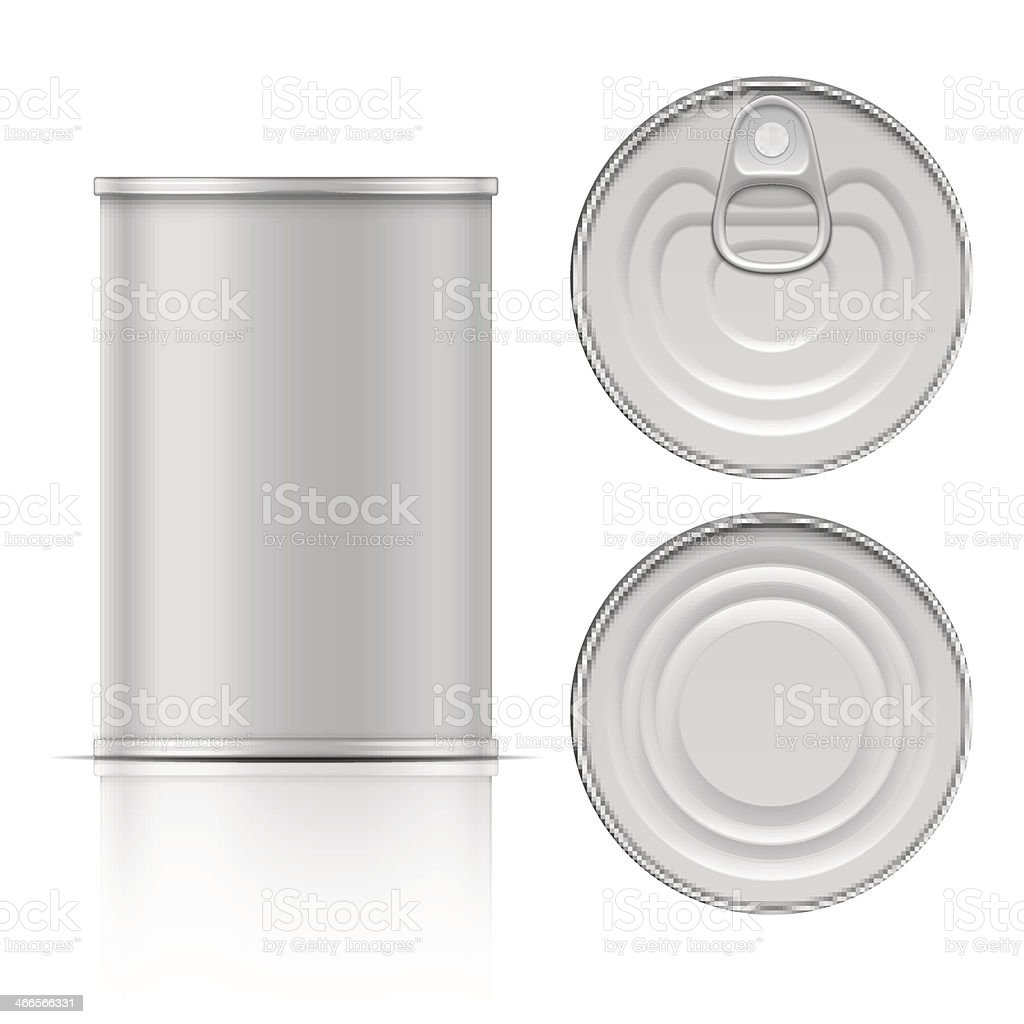 Plain aluminum can top bottom top lid blank stock photo vector art illustration