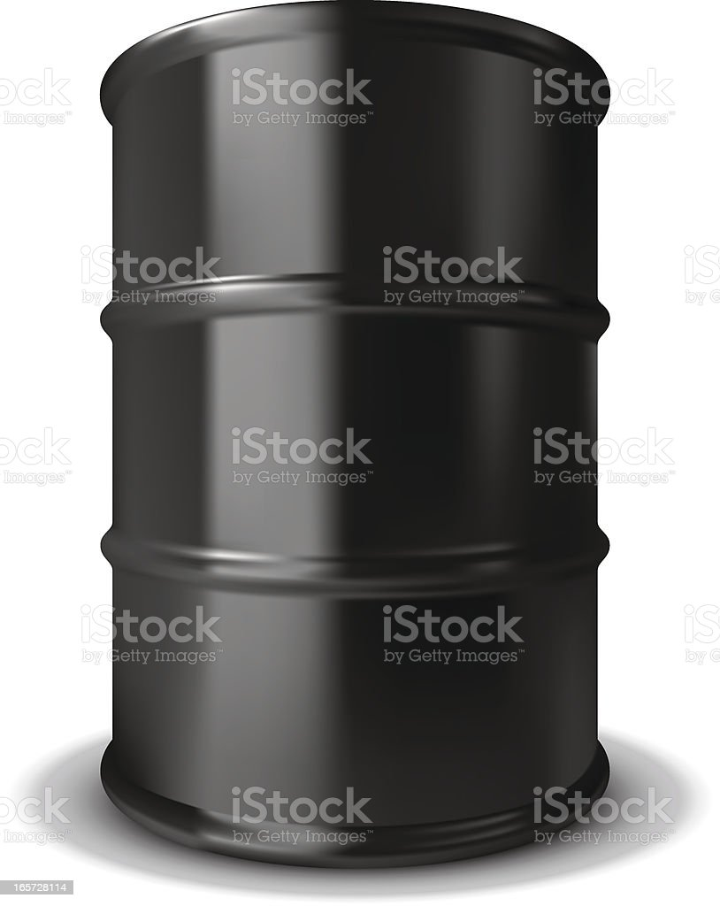 Plain black oil barrel with rings around it royalty-free stock vector art