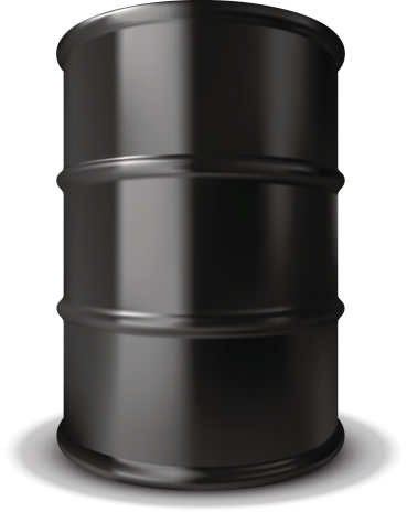 Plain black oil barrel with rings around it