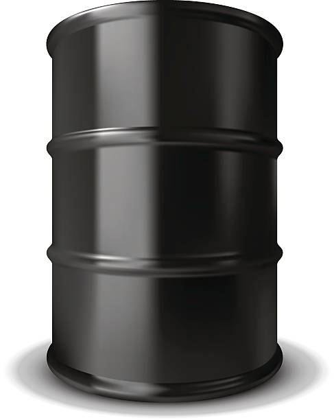 Plain black oil barrel with rings around it Isolated Oil Barrel. oil drum stock illustrations