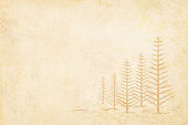 Plain Blank light brown grunge christmas vector background in earthy tone with five trees without leaves depicting winter where leaves have been shed. Beige / camel shade paper background with trees with bare branches to the right in the frame. Trees stand over snow covered land in ascending order.The X'Mas design is in same shade as the beige background, but a darker tone. Ample copyspace in this vector illustration.