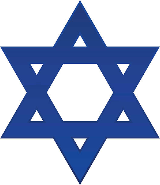 A plain blue Star of David with a white background  A shiny blue Star of David icon. star of david stock illustrations