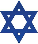 A plain blue Star of David with a white background