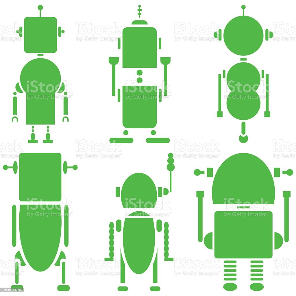 Plain cyborgs, set of 6 robots in green and white ilustração de plain cyborgs set of 6 robots in green and white e mais banco de imagens de abstrato royalty-free