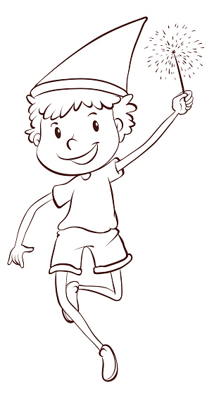Plain drawing of a boy celebrating