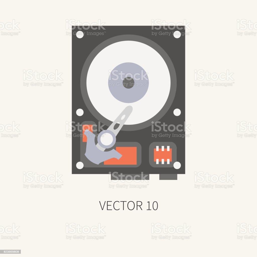 Ilustración de Llano Del Color Plano Vector Computadora Parte Icono ...