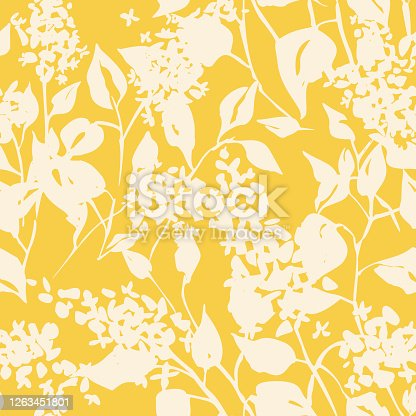 istock Plain floral drawing. Silhouettes of blooming lilac flowers in vintage style. Elegant seamless botanical pattern made of spring flowers. Nature ornament for textile, fabric, wallpaper, surface design. 1263451801