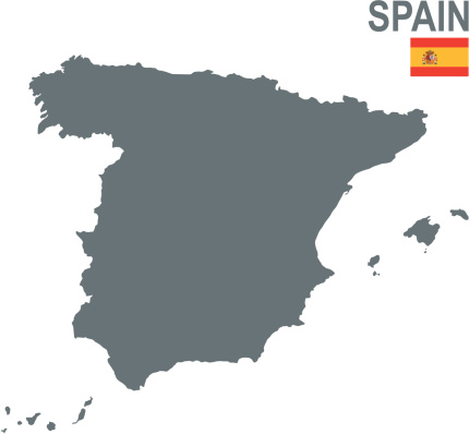 A plain gray map of Spain on a white background