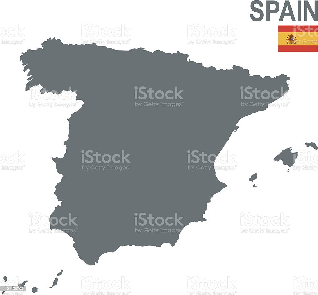 A plain gray map of Spain on a white background vector art illustration