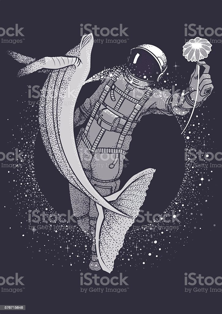 plain print astronaut with whale in space vector art illustration