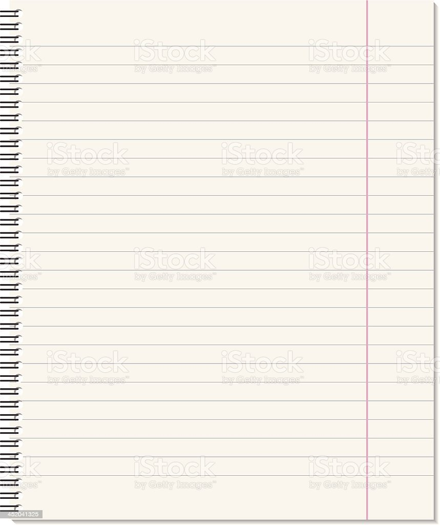 A plain ruled notebook page for notes vector art illustration
