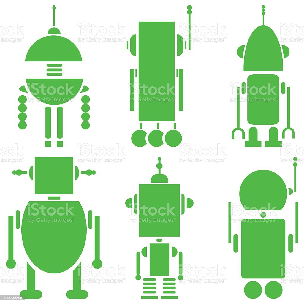 Plain vintage robots in green on white background ilustração de plain vintage robots in green on white background e mais banco de imagens de abstrato royalty-free