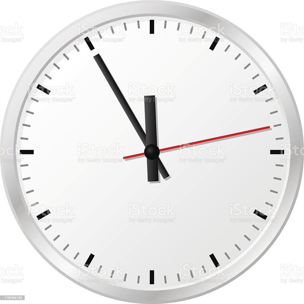plain wall clock in the eleventh hour vector art illustration