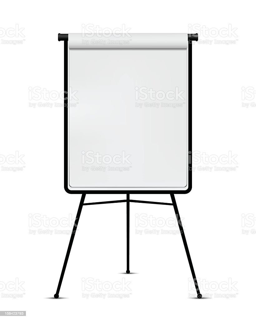 Plain White Flip Chart With Black Frame On White Background Stock ...