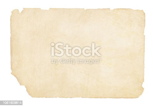 Plain  yellowish brown beige grunge paper vector illustration. The edges and corners are torn and weathered. The bottom left corner is slightly more torn. Old paper. No text. No People. Copy space.