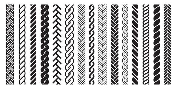 Plait and braids pattern icon, line art design. Graphic drawing, hairdresser set. Vector line art illustration on white background
