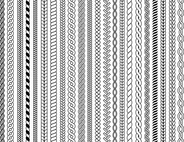 プラットパターン。装飾的な三つ編み編みケーブルファッションテキスタイル構造グラフィックベクターシームレスなイラスト - 編む点のイラスト素材/クリップアート素材/マンガ素材/アイコン素材