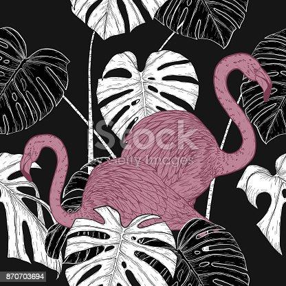 Plam leaf and flamingo vector pattern on vintage background.