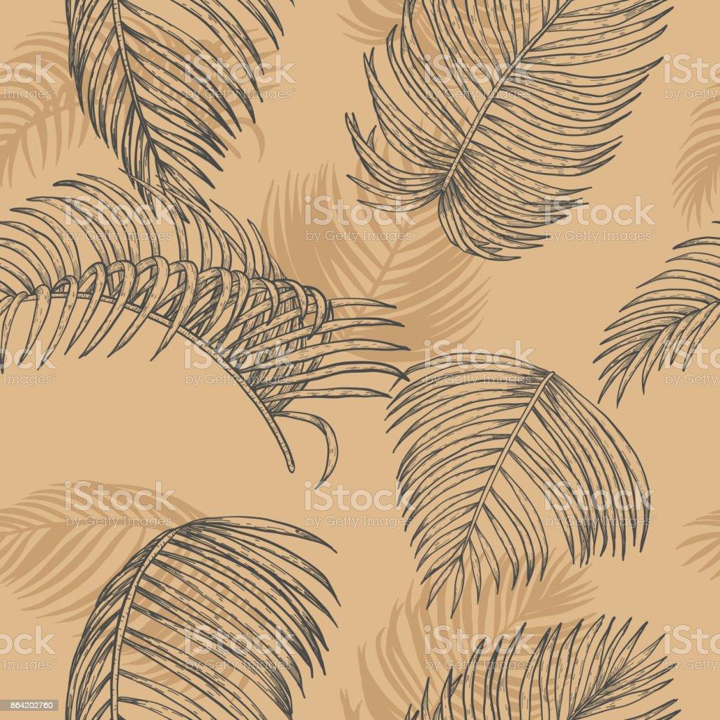 Plam leaf vector pattern on vintage background royalty-free plam leaf vector pattern on vintage background stock vector art & more images of areca