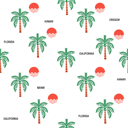 Plam trees and sunshine seamless pattern icon with beach vacation city  ,Design for fashion,fabric,web,wallpaper ,wrapping and all prints